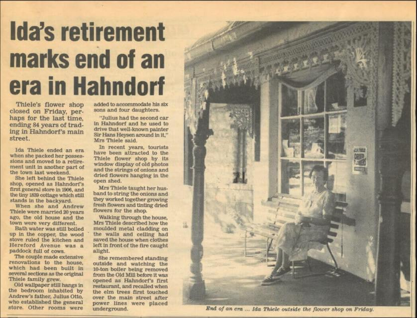 Mrs Thiele's story in The Courier Newspaper in 1990