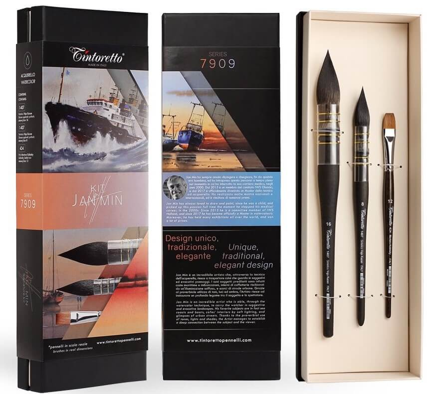 Tintoretto Jan Min 7909 Brush Set of 3 Watercolour Brush Sets are available in-store and online at The PaintBox, home to the widest range of traditional and progressive Art Supplies in Adelaide. At The PaintBox we source and stock quality Art Supplies which we import directly. This means that you have access to a greater variety and pay less. These are perfect for any artists from amateur to professional. It is also perfect for any budget size. Check out our loyalty rewards programme, which makes your artistic ambitions achievable. At these prices why not give these a go. Be sure to check out our other fabulous finds on our website and start saving today. Our knowledgeable staff at The PaintBox can guide you through our carefully selected ranges of Art Supplies for all applications. This is only a small selection of our stock. We sell many brands, weights, and textures, in-store only. Please call 08 8388 7776 to enquire. We offer art tuition too! TINTORETTO JAN MIN WATERCOLOUR BRUSH SETS OF 3 CAN BE DELIVERED ANYWHERE WITHIN AUSTRALIA OR NEW ZEALAND